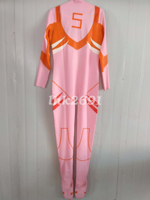Cosplay Latex Rubber Pink orange Patch Uniform Bodysuit Overall Catsuit S-XXL