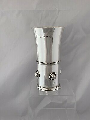 LARGE & HEAVY Solid Silver Beaker 2001 LONDON Marlow Brothers Sterling Silver