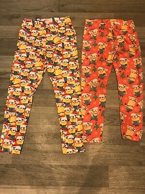 x2 Pairs Girls Christmas Minions Leggings, Age 6 Years Next, Age 7-8 Despicable