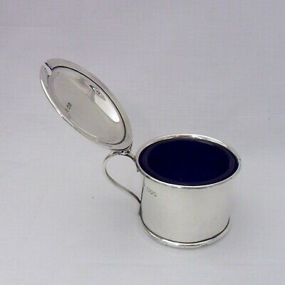 Solid Silver Mustard Pot with blue glass liner, 59g,London 1914