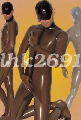 Latex Rubber Brown Overall Catsuit Gummi Sexy Cosplay Bodysuit Costume S-XXL