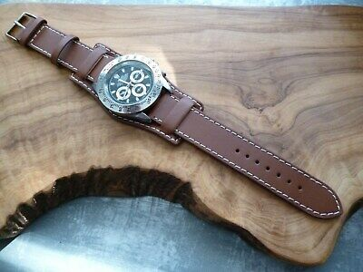 20mm Leather Military Bund Cuff Brown Watch Strap UK Supply Free Delivery