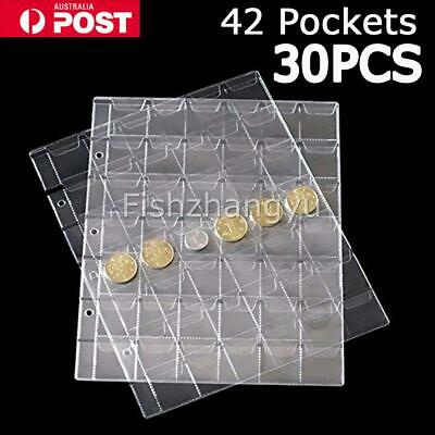 30pcs 42 Pockets Coin Holders Folder Pages Sheets For Collection Album Storage O