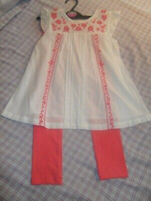 Sainsburys Tu Girls 2 Piece Outfit Set White Floral Top Coral Leggings 4-5 Years