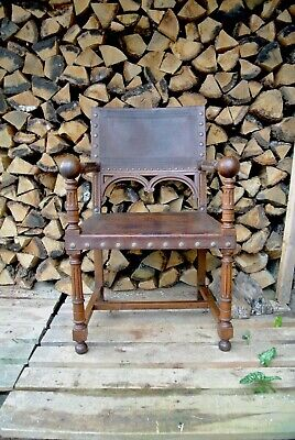 19th Century Antique French Renaissance Revival Leather & Walnut Throne Armchair