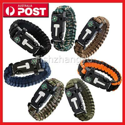 9in1 Flint Fire Starter Survival Paracord Bracelet Whistle Compass Gear Tool AU