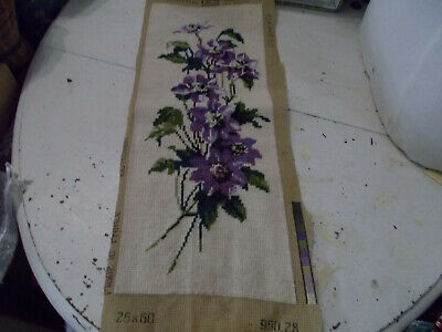 Vintage completed needlepoint tapestry picture purple flowers good condition