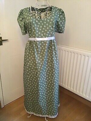 Regency/Jane Austen style dress 10-12, Pale Green Cotton with accessories-New.