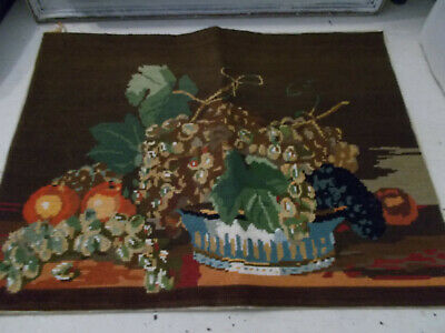 Vintage needlepoint tapestry picture still life good condition