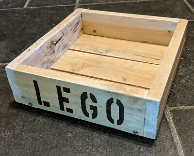 Hand-Made Rustic Wooden LEGO Tray / Crate / Open Box