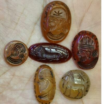 Sassanian 6 Beautiful Old Ancient  Carnelian Agate intaglio seals Stones  # 67