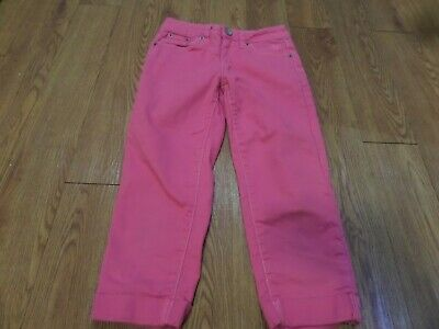 euc-JUSTICE Girls Hot Pink Jean Capri Pants Size 8R