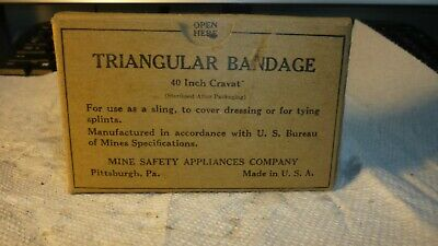 """Vintage 40"""" Triangular Bandage Mine Safety Appliance Co. Coal Mining First Aid"""