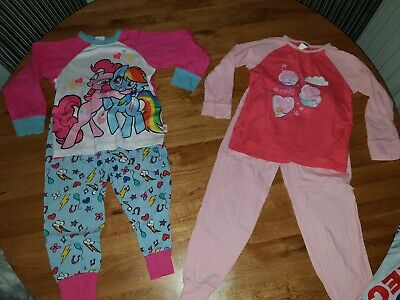2 X Girls Age 4-5 Pyjamas, Next, Peppa Pig,  My Little Pony