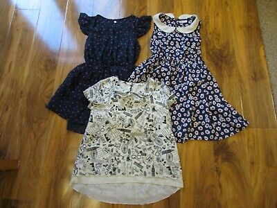 3 x girls 7 / 7-8 years dresses + top - M&S Marks Spencer George Matalan