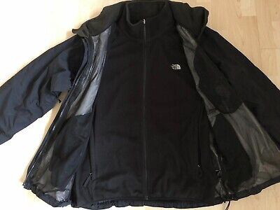 Men's The North Face 3 in 1 Black Fleece Outer Shell Jacket - XL