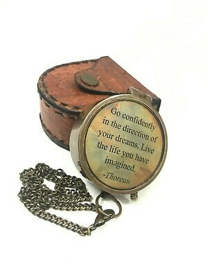 """Nautical 2"""" Solid Brass Working Engraved Compass With Beautiful Leather Case"""