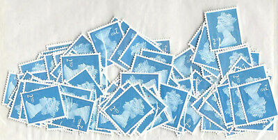 GB 100 x 2nd Class Security Type Unfranked Stamps Off Paper No Gum For Sorting