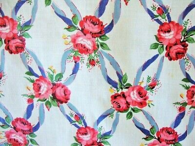 """Antique, Cotton Cintz Fabric-Pink Roses Blue Ribbons- 6 Yards, 36"""" Wide,"""