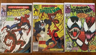 Marvel Amazing Spider-Man 361, 362, 363 First Full Appearance of Carnage Venom