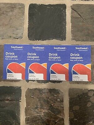 (4) Southwest Airlines Drink Coupons   Exp 1/31/2020 Fast Shipping