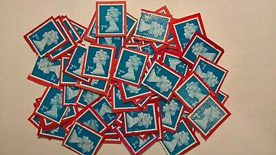 20 Unfranked Blue Second Class Security Stamps On Red Paper