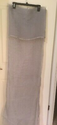 grey sheer shower curtain with fringe