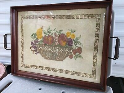 Antique Needlepoint Serving Tray Wood Frame Handles Fruit Bowl Very Good Cond