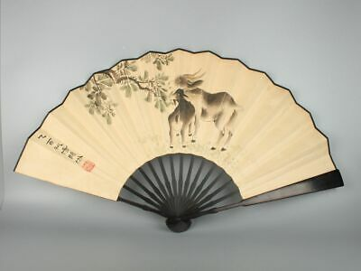 Chinese Exquisite Handmade goat Wooden Hand Painted fan