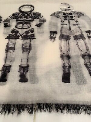 Authentic Chanel Iconic Astronaut Black White Gray Scarf/Wrap