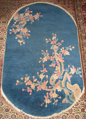 Antique 1920'S Chinese Art Deco Rug Oval Blue With Floral Design
