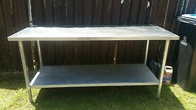 """Stainless Steel Top Table With Galvanised Legs An Self 6' Long,21/2Wide,34""""High."""