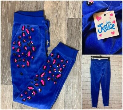 New! Justice Royal Blue Pink Velour Sequins Animal Print Joggers Pants Girls 8