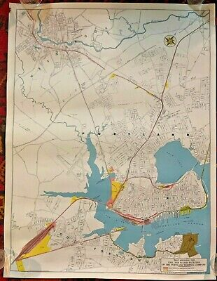 Portland Maine Railroad Street Map Vintage Circa 1950 to 1960 Antique 23 X 18