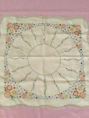 Vintage Mixed Flower  Hand Embroidered Tablecloth