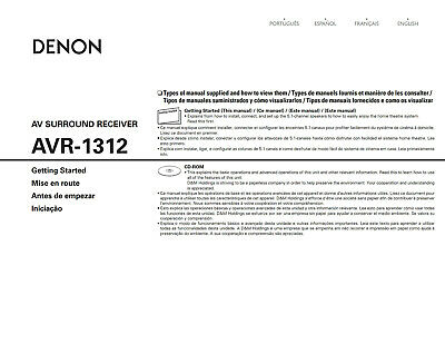 Denon AVR-1312 Receiver Owners Instruction Manual