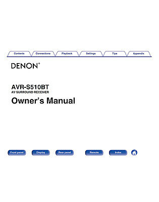 Denon AVR-S510BT Receiver Owners Manual