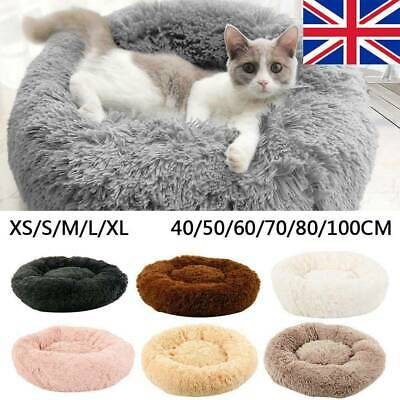 Large Pet Bed Luxury Shag Warm Fluffy Dog Bed Nest Cat Mattress Fur Donut Pad UK