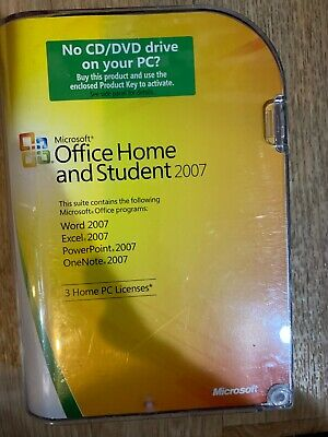 Office Home And Student 2007 Microsoft Windows With Coa And Serial Retail