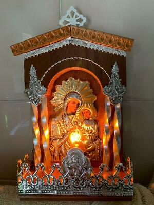 Lovely Vintage Religious Virgin Mary & Jesus Icon Lamp / Light Deco Display