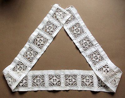 Antique Hand Made 8.5cm Wide X 70cm Long White Cotton Lace Edging