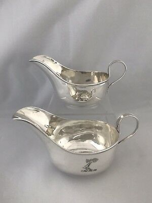 Solid Silver Crested Gravy Boats 1922 Sheffield James Dixon Sterling Silver