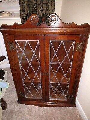 Old Charm Oak, Wall-Hanging Corner unit/Cabinet with real Leaded Glass Doors