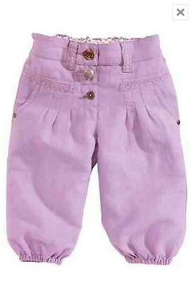 Bnwt Next Lilac Linen Blend Cropped Trousers Size 5-6 Years
