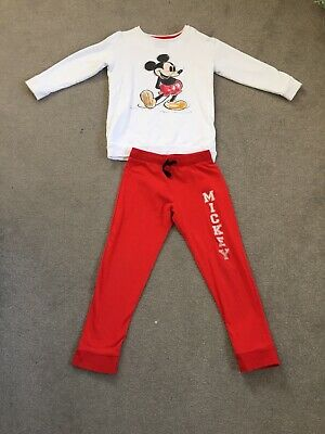 M&S Mickey Mouse Girls Joggers and Jumper Set Age 5-6