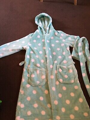 M And S Girls Age 7 Spotty Fluffy Dressing Gown