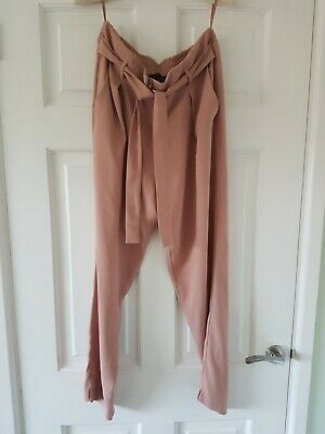 River Island ladies girls trousers beige peach size 12  Christmas party vgc UK