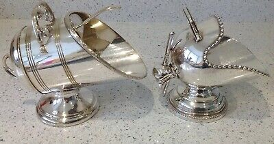 Vintage Silver Plated Coal Scuttle Sugar Bowls X 2