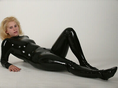 Latex Rubber Catsuit Schwarz Fashion Gummi Bodysuit Wetlook Cosplay Auzug S-XXL