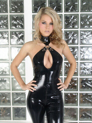Latex Schwarz Rubber Catsuit Sleeveless High Neck Sexy Cosplay Gummi Bodysuit